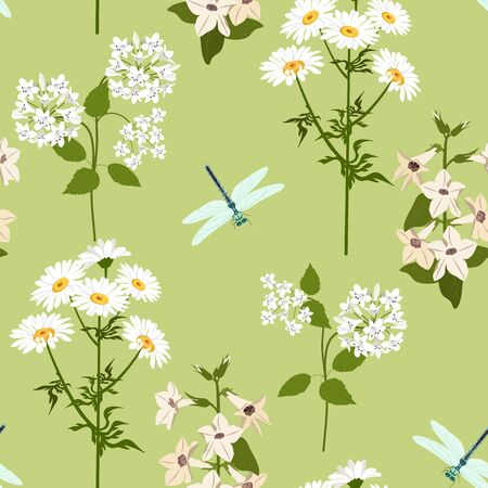 Seamless vector illustration with flowers campanulas, chamomile and dragonflies on a green background. For decoration of textiles, packaging, web design. Иллюстрация
