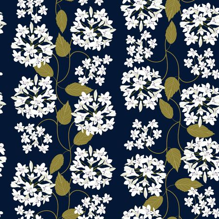 Seamless pattern. White agapanthus flower pattern on a dark background. This pattern can be used for printing on textiles, wallpaper and other surfaces.