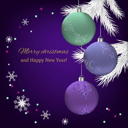 Vektorweihnachtsillustration mit Fichtenzweig, schönen Bällen und Grußbeschriftung. Vorlage für Grußkarten, Einladungskarten, Webdesign.