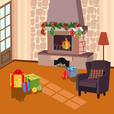 Christmas vector illustration of a fireplace with festive attributes. Template for postcard, poster and web design.