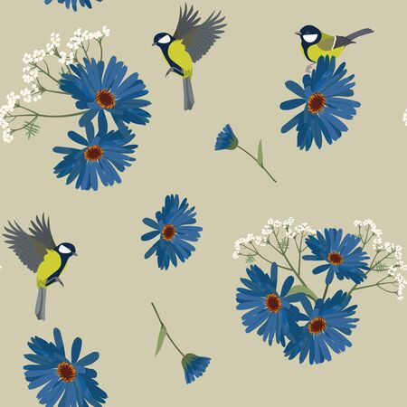 Seamless vector illustration with gerbera flowers and birds on a gray background. For hardening textiles, packaging, wallpaper.