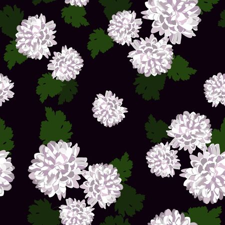 Seamless vector illustration with chrysanthemums on a dark background. For decorating textiles, packaging, web design.