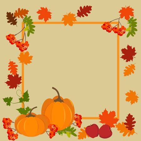 Vector illustration of pumpkins, rowan berries and autumn leaves with frame and place for your text. For decoration for Thanksgiving holiday, harvest autumn festivity.