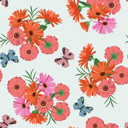 Seamless vector illustration with gerbera flowers and butterfly on a light background. For decorate textiles, packaging, wallpaper.