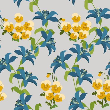 Seamless vector illustration with lilies and pansies on a gray background. For decorating textiles, packaging, web design. Illusztráció