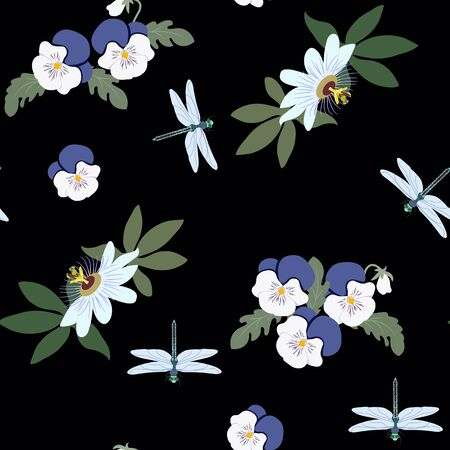 Seamless vector illustration with pansies, passionflower and dragonflies on a black background. For decorating textiles, packaging, web design.