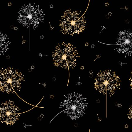 Seamless vector illustration of a dandelion on a black background. For decorating textiles, packaging, wallpaper. Ilustracja