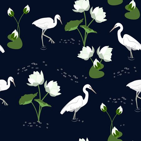 Seamless vector illustration with herons and lotus on a black background. For textile decoration, packaging, web design.
