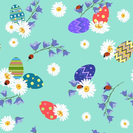 Easter. Seamless vector pattern. Flat design. Colored easter eggs, field flowers and ladybirds, on a green background. Ilustracja