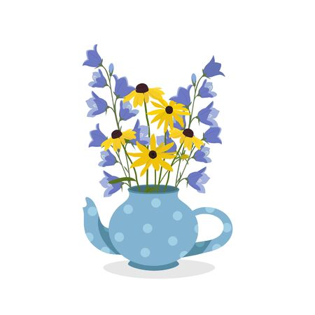 Bouquet of field bells and rudbeckia in teapot on a white background. For packaging decoration, web design.