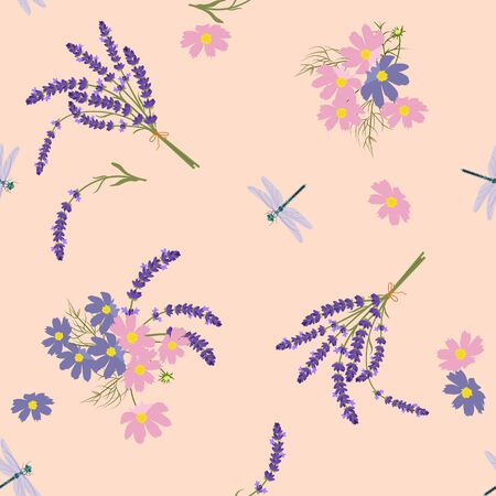 Seamless vector illustration with lavender and dragonflies on a pink background. For textile decoration, packaging, web design.