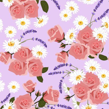 Seamless vector illustration with roses, chamomile, lavender on a lilac background. For textile decoration, packaging, web design.
