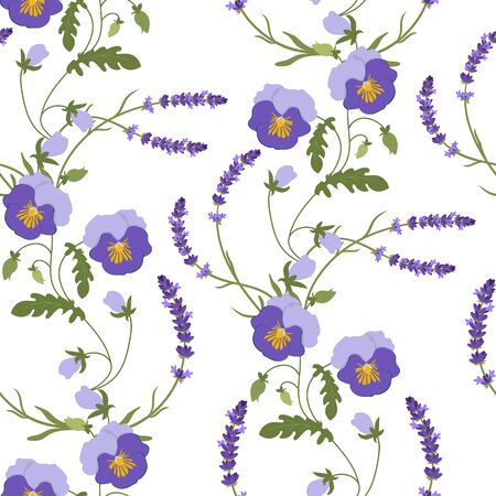 Seamless vector illustration with pansies and lavender on a light background. For decoration of textiles, packaging, web design. Illusztráció