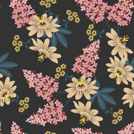 Seamless vector illustration with tropical flowers Passiflora and lilac on a black background. For decorating textiles, packaging, wallpaper.