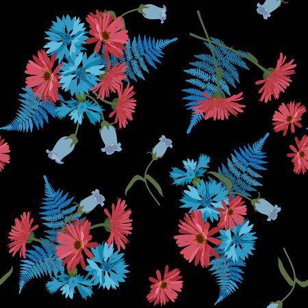 Seamless vector illustration with cornflowers and gerbera on a black background. For decoration of textiles, packaging, web design.