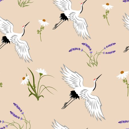 Seamless vector illustration with lavender and birds crane on a beige background. For decoration of textiles, packaging, web design. Ilustrace