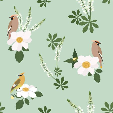 Seamless vector illustration with dahlias, lupine and birds waxwing on a green background. For decorating textiles, packaging, wallpapers, web design. Vettoriali