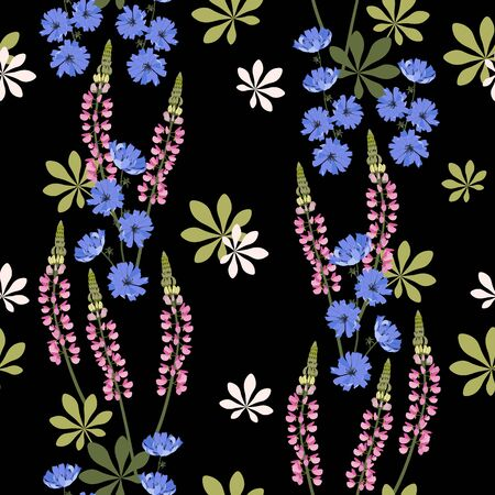 Seamless vector illustration with blue flowers of chicory and lupine on a black background. For decoration of textiles, packaging, web design.