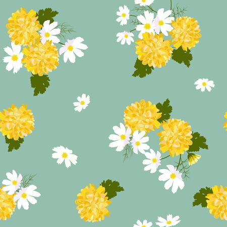 Seamless vector illustration with yellow chrysanthemums on a green background. For decorating textiles, packaging, web design. Ilustrace