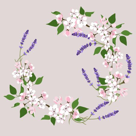 Floral wreath with spring flowers. Vector vintage botanical illustration. Cherry blossoms and lavender.Design for spring and easter cards. Illustration