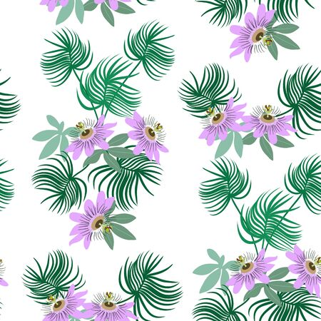 Seamless vector illustration with passiflora flowers and tropical leaves on a white background. For decorating textiles, packaging, wallpaper. Illustration