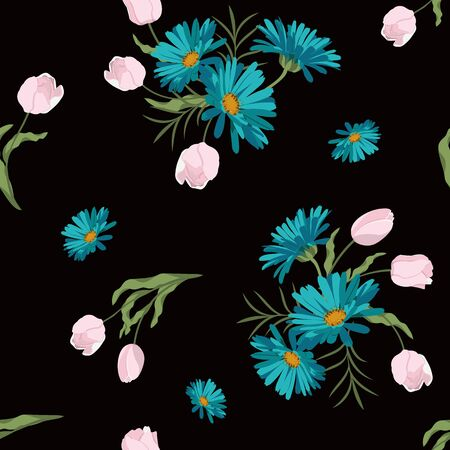 Seamless vector illustration with tulips and daisy on a black background. For decorating textiles, packaging, wallpaper.