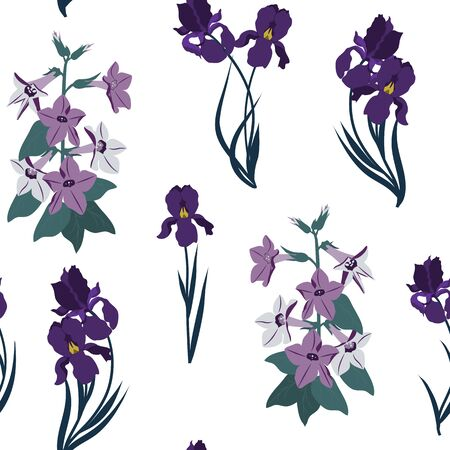 Seamless vector illustration with campanula and iris on a light background. For decorating textiles, packaging, wallpaper.
