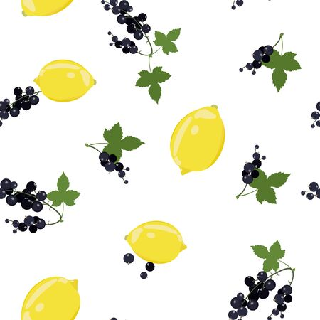 Seamless vector illustration with lemons and black berry on a white background. For textile decoration, packaging, web design. Illustration