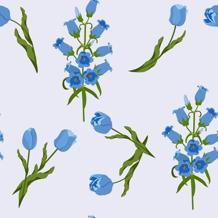 Seamless vector illustration with tulips and campanula on a light background. For decorating textiles, packaging, wallpaper.