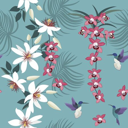 Seamless vector illustration with orchids, passionflower and birds on a blue background. For decoration of textiles, packaging, wallpaper, web design.