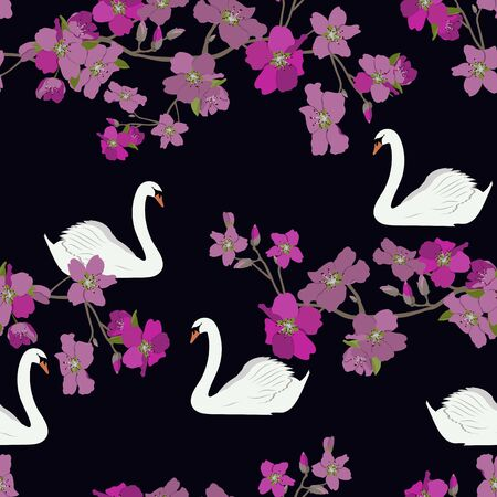 Seamless vector illustration of blooming cherry and swan on a black background. For decoration of textiles, packaging, wallpaper, web design. Illustration