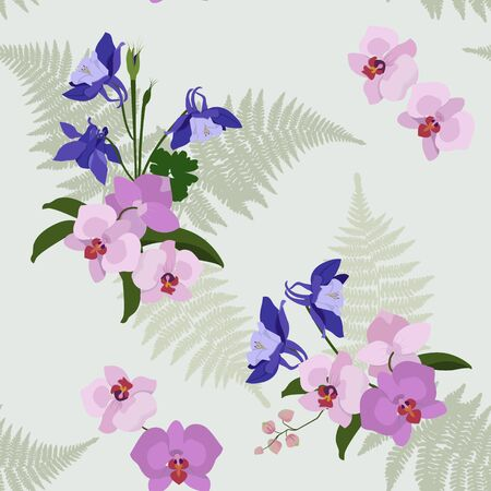 Seamless vector illustration with orchids and aquilegia on light background. For decorating textiles, packaging, web design.