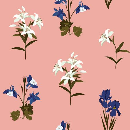 Seamless vector illustration with iris flowers, aquilegia and lily on a pink background. For decoration of textiles, packaging, wallpaper, web design.