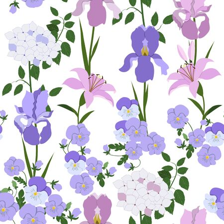 Seamless vector illustration with iris flowers, hydrangea, pansies and lily. For decoration of textiles, packaging, wallpaper, web design.