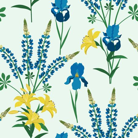 Seamless vector illustration with iris flowers,lupine and lily on light background. For decoration of textiles, packaging, wallpaper, web design. Illustration