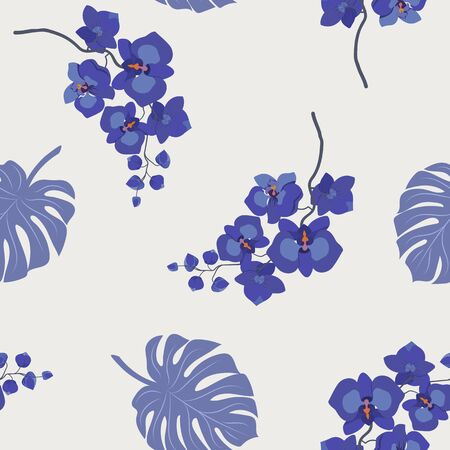 Seamless vector illustration with delicate orchids and monstera leaves on a light background. For textile decoration, packaging, web design.