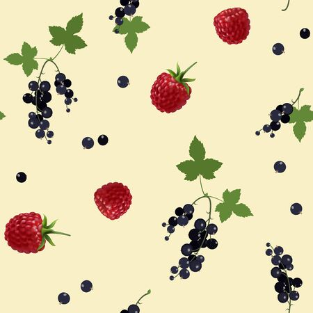 Vector black currantand and raspberry seamless pattern. Background design for tea, ice cream, natural cosmetics, candy and bakery with blackcurrant filling, health care products. Illustration