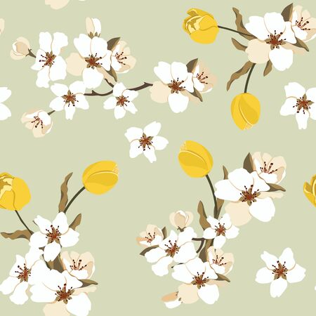 Seamless vector illustration with cherry and tulips on a light background. For decorating textiles, packaging, web design.