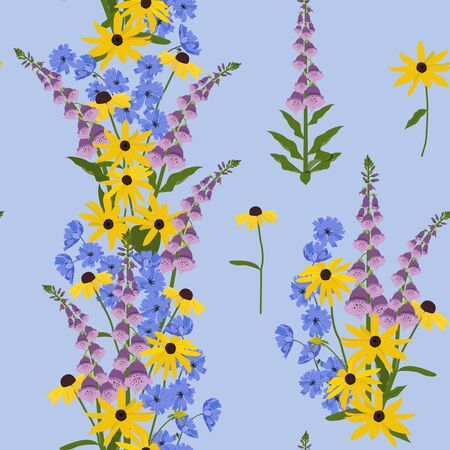Seamless vector illustration with beautiful wildflowers on a blue background. For decorating textiles, packaging, wallpaper. Ilustracja