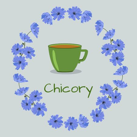 Vector illustration with a cup of chicory drink and flowers on an isolated background. For decoration packaging, menu, web design.