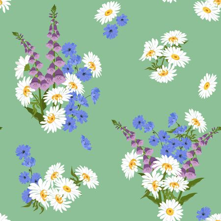 Seamless vector illustration with beautiful wildflowers on a green background. For decorating textiles, packaging, wallpaper. Ilustracja