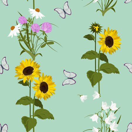 Seamless vector illustration with sunflowers, butterflies and wildflowers. For decorating textiles, packaging, wallpaper.
