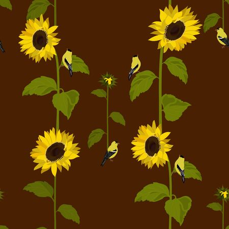 Seamless vector illustration with sunflowers and birds on a brown background. For decorating textiles, packaging, wallpaper. Çizim