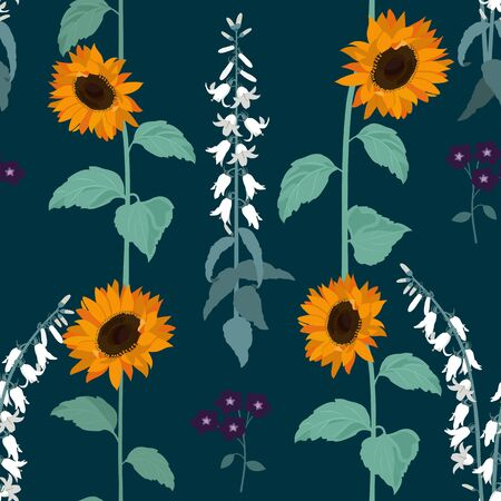 Seamless vector illustration with sunflowers and campanula. For decorating textiles, packaging, wallpaper.