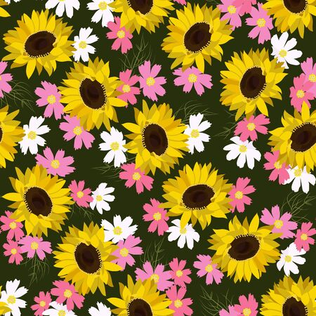 Seamless vector illustration with sunflowers. For decorating textiles, packaging, wallpaper.