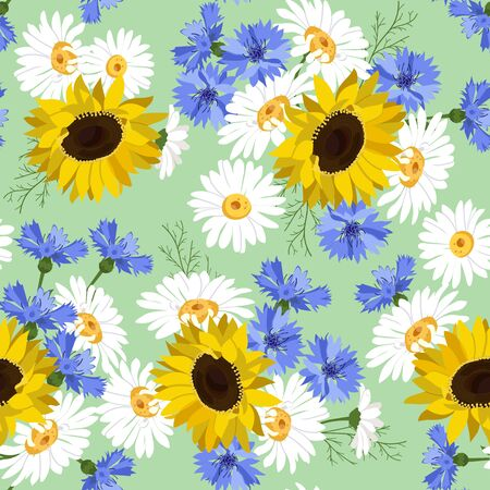 Seamless vector illustration with sunflowers, cornflowers and chamomile. For decorating textiles, packaging, wallpaper.