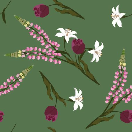 Seamless vector illustration with tulips, lupine and lily on a green background. For decorating textiles, packaging, wallpaper.