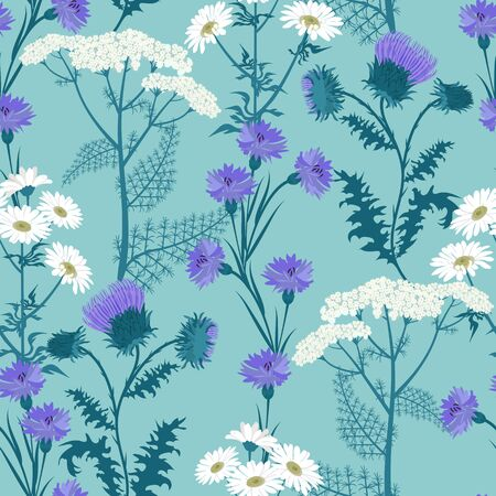 Seamless vector illustration with wildflowers on a blue background. For decorating textiles, packaging and wallpaper. Vettoriali