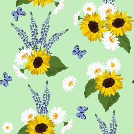 Seamless vector illustration with sunflowers, lupine, chamomile and butterfly on a green background. For decorating textiles, packaging, wallpaper.