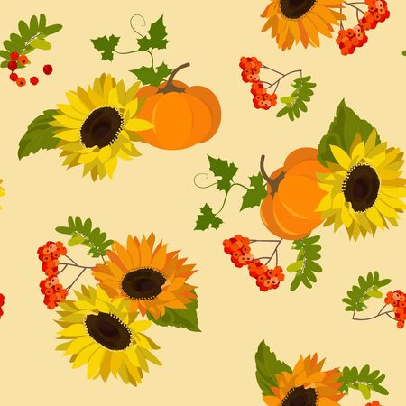 Sunflowers, pumpkin and rowan branches. Seamless vector autumn illustration on a beige background. For textile decoration, packaging, web design.